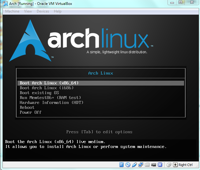 Install Arch Linux on virtualbox – the nuts and bolts (pt1
